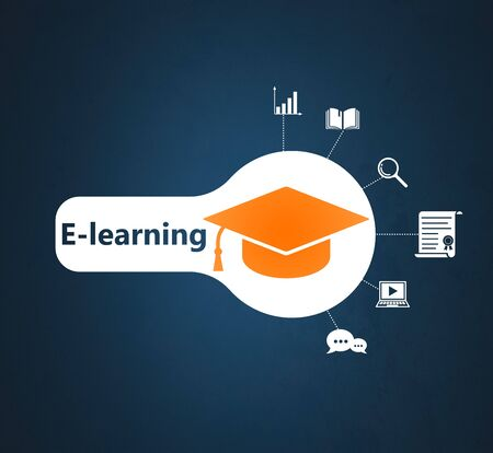 Concept of e-learning, online course, webinar.Iillustration