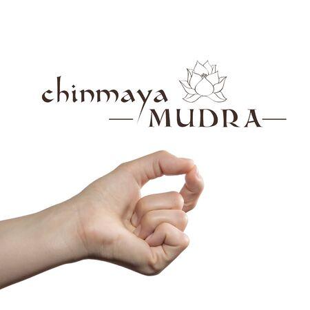 Chinmaya mudra. Yogic hand gesture on white isolated background.