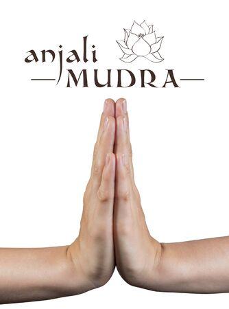 Anjali mudra.Yogische Handgeste auf weißem Hintergrund isoliert.