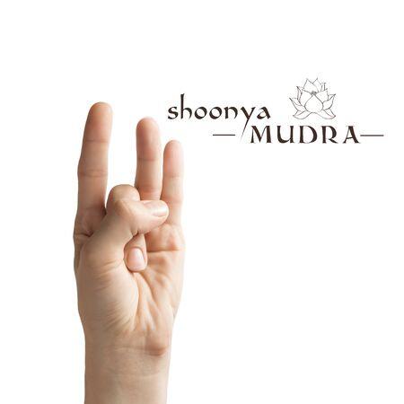 Shoonya mudra. Yogic hand gesture on white isolated background.