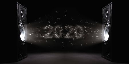 Two sound speakers with text 2020 between them on black  background. Black and white image.