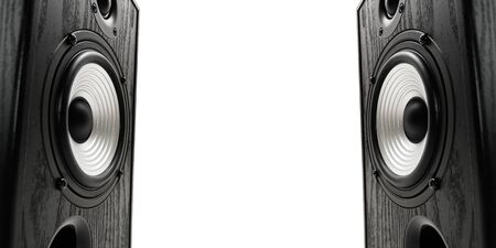 Two sound speakers with free space between them on white  background.