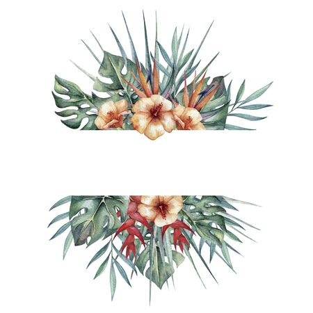 beautiful horisontale frame with watercolor tropical leaves and flowers