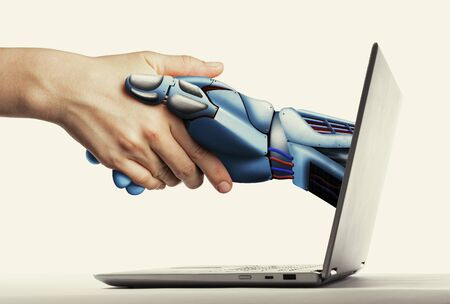 The handshake human with artificial intelligence via laptop. Artificial intelligence, concept of future.