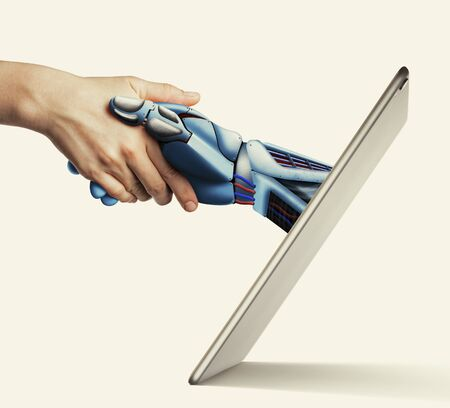 The handshake human with artificial intelligence via digital tablet. Artificial intelligence, concept of future.