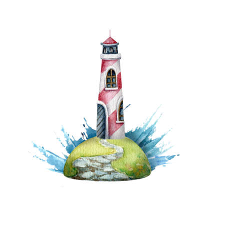 Watercolor illustration of lighthouse. Illustration for postcards, magnet and other