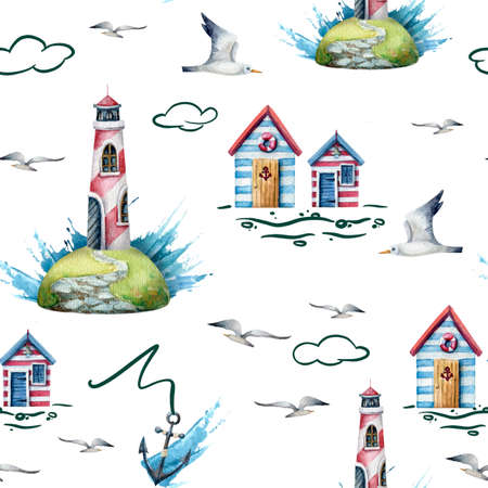 watercolor seamless marine pattern with whale, anchors, waves