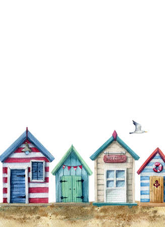 watercolor illustration of coast with row of wooden beach houses