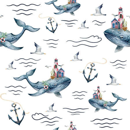 watercolor seamless pattern with whale, anchors, waves Banco de Imagens