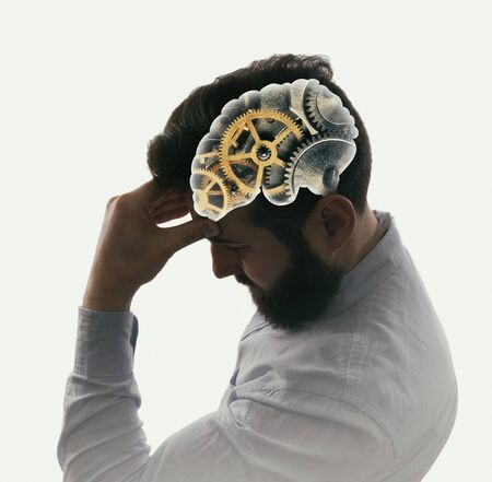 Human head with gears. Head thinking.