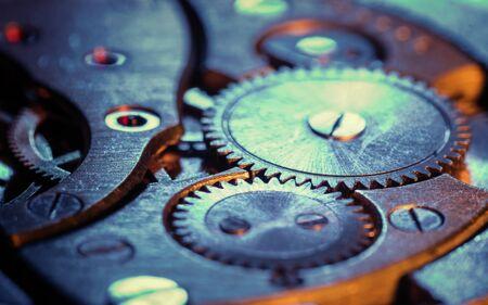Clockwork gears wheels, close up view. Industry background. Standard-Bild