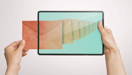 Human get a letter via digital tablet.  Concept of business correspondence, feedback, advertising via internet.