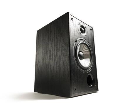Black wooden sound speaker on white isolated background. Standard-Bild