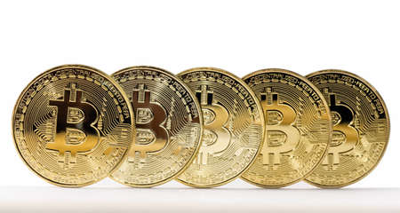Five Bitcoin coins is on the edges. Isolated on white. Reklamní fotografie