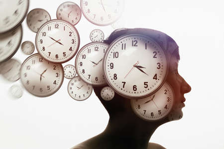 Multi exposure with woman portrait and clocks. Time management and deadlines concept. Stockfoto