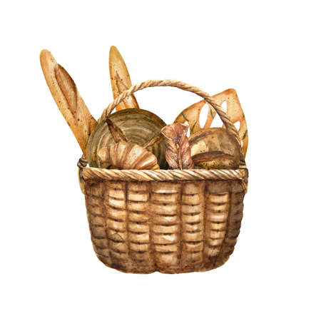 Watercolor illustration of basket with different kinds bread
