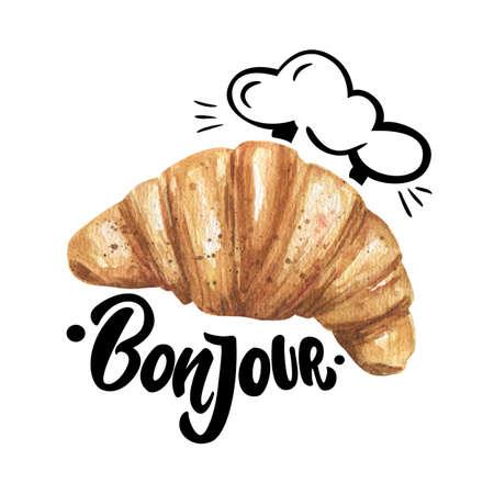 watercolor croissant and hand drawn message bonjour Banco de Imagens