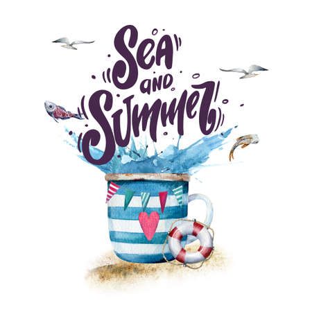 Sea and summer. Watercolor illustration of striped cup on sand with water splashes, lifebuoy, flags and hand drawn lettering