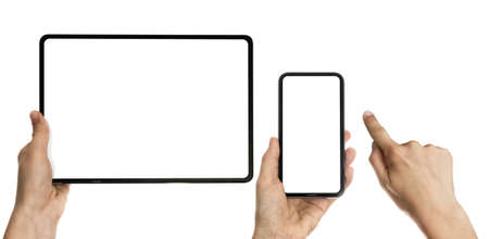 Set with index finger, smartphone and digital tablet in woman hands on white isolated background. Free space for text. Mockup Standard-Bild