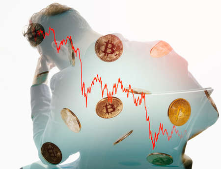 Double exposure with sad man, rain of bitcoin and bitcoin fall chart. Business concept.