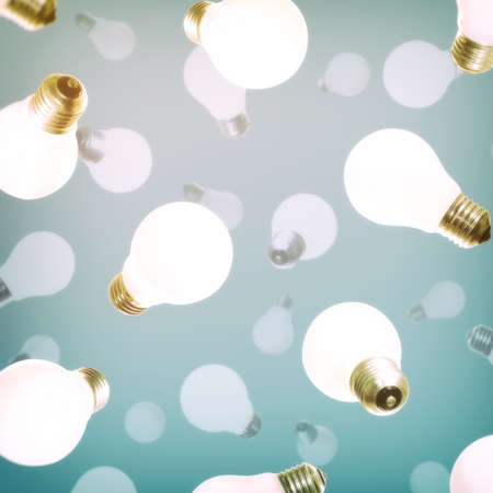 Abstract pattern with falling light bulbs. The concept of new ideas, creativity, revolutionary discoveries. Standard-Bild