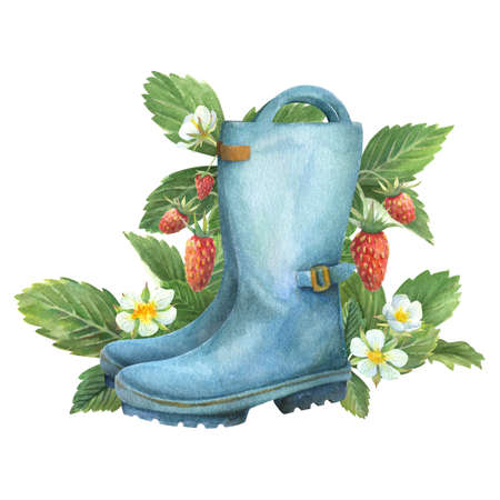 Blue rain boots with wild strawberries. Watercolor illustration