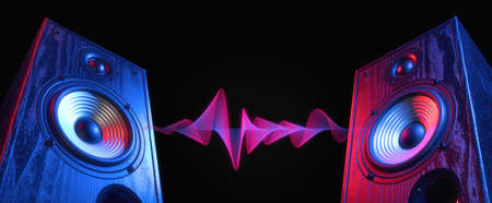 Two sound speakers in neon light with sound wave between them on black.