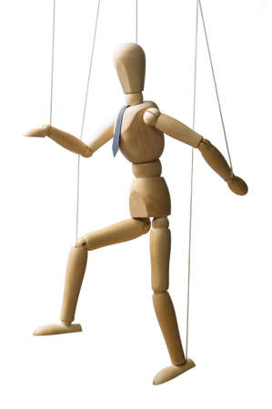 Control. Marionette on the strings. Business concept.