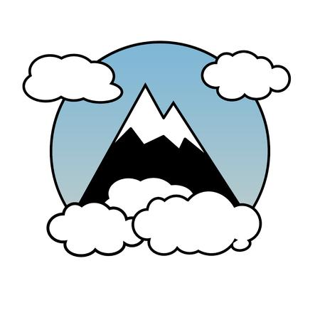Montagne, rocce e picchi. Illustrazione vettoriale ed elementi di design del logo Logo