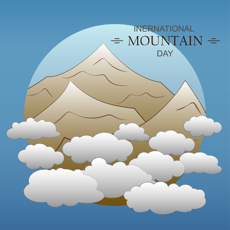 Flat mountain peaks in the clouds. Vector illustration. EPS10 Ilustrace