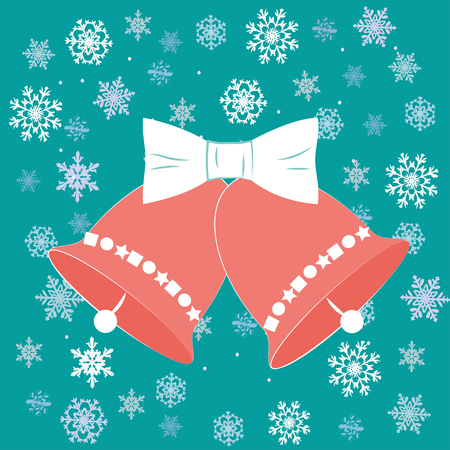 Vector illustration christmas bells in flat style with white bow. EPS10