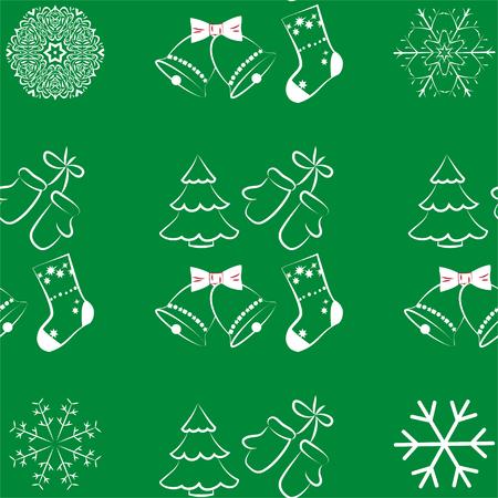Christmas Seamless Pattern On Green Background. Vector illustration. EPS10