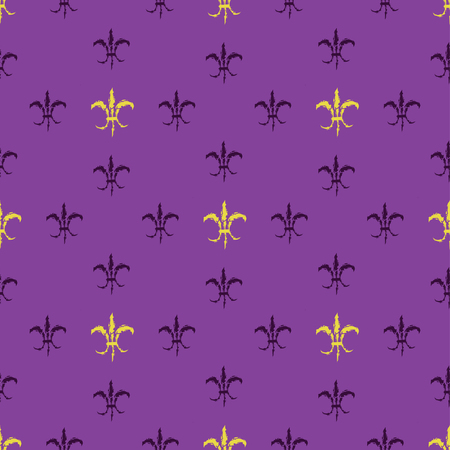 Mardi Gras Carnival seamless pattern with fleur-de-lis. Vector illustration EPS10.