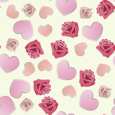 seamless pattern of hand drawn roses and hearts. EPS10