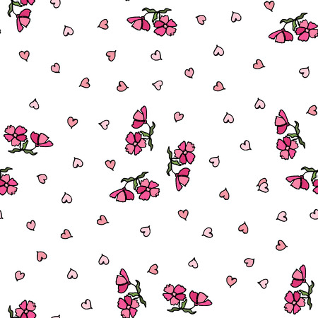 Flower pattern of small flowers. Seamless vector texture. EPS10