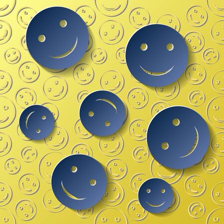 Paper-style emoticons on a yellow background. EPS10