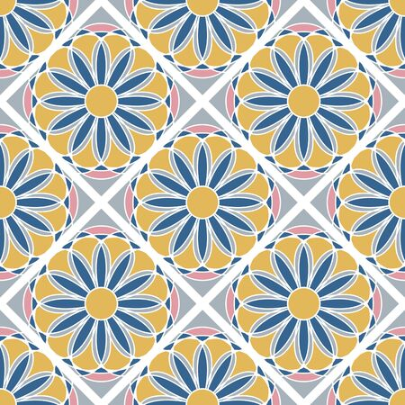 Floral Seamless Checkered Pattern On Grey Background Ilustrace