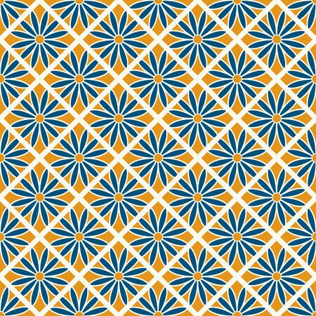 Floral Seamless Checkered Pattern On Yellow Background