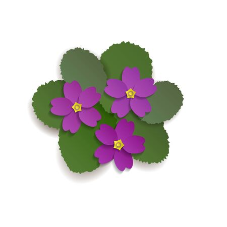 A small cluster of violets. Vector illustration in paper cut. EPS10