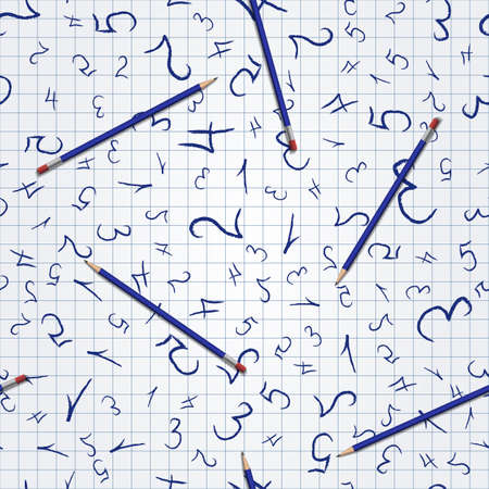 Seamless pattern with numbers for school design Illusztráció