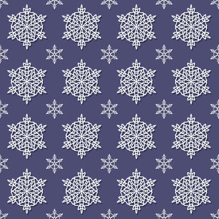Christmas Seamless Pattern With Snowflakes On A Dark Background