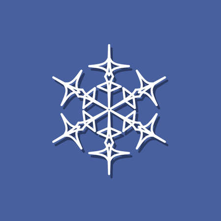 Snowflake Icon With Shadow. Snowflake Icon In The Paper Cut Style