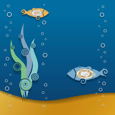 Abstract decorative fish. Cartoon style, paper cut