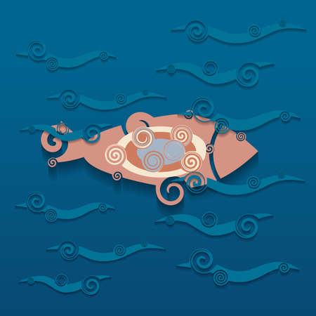 Abstract single fish on a blue background. Cartoon style, a piece of paper