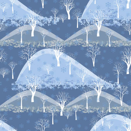 Winter Seamless Pattern Of Trees. Forest Background Stock fotó
