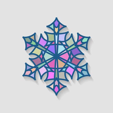 Snowflake Icon Made Of Multi-Colored Mosaic Fragments. Illusztráció
