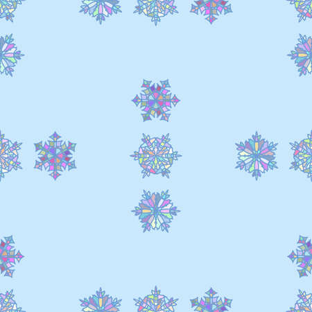 The Snowflake Is Made Of Multi-Colored Mosaic Fragments.