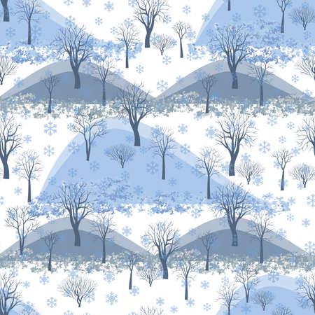 Winter Seamless Pattern Of Trees. Forest Background Illusztráció