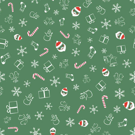 Seamless Pattern With Elements Of Winter And Christmas. Illusztráció
