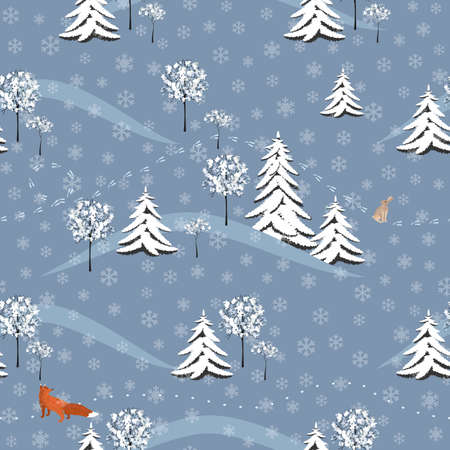 Winter Pattern With A Fox And Hare